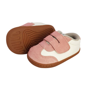 2FeetTall | Pink leather and suede baby sneaker with rubber sole side on