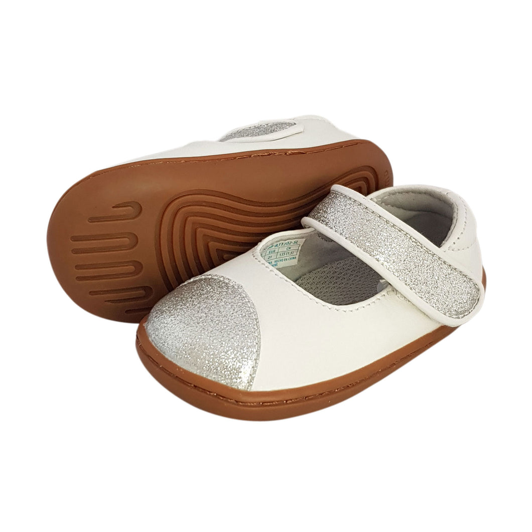 2FeetTall | Silver Microfibre Girls Toddler shoe side on