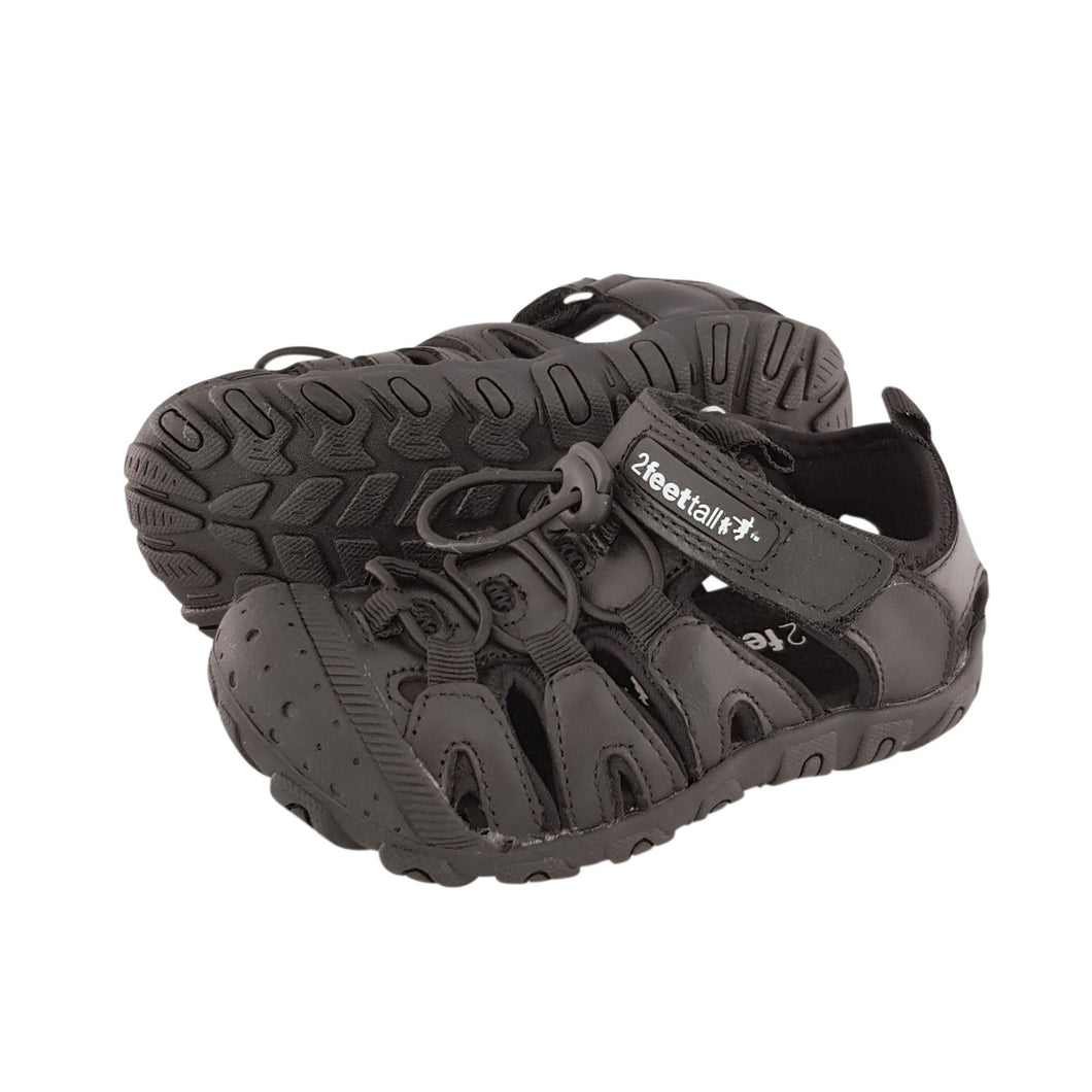 2FeetTall | Black Riley School Sandal side on