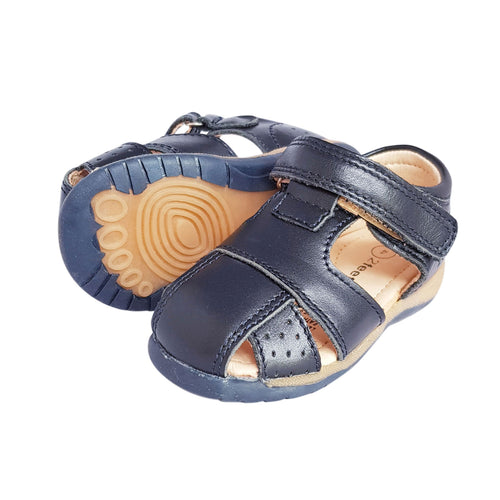 2FeetTall | Navy leather Toddler Sandal side on
