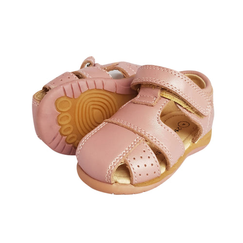 2FeetTall | Pink leather Toddler Sandal side on