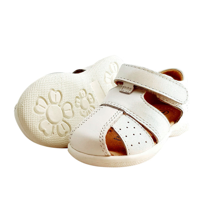 2FeetTall | White leather Toddler Sandal side on