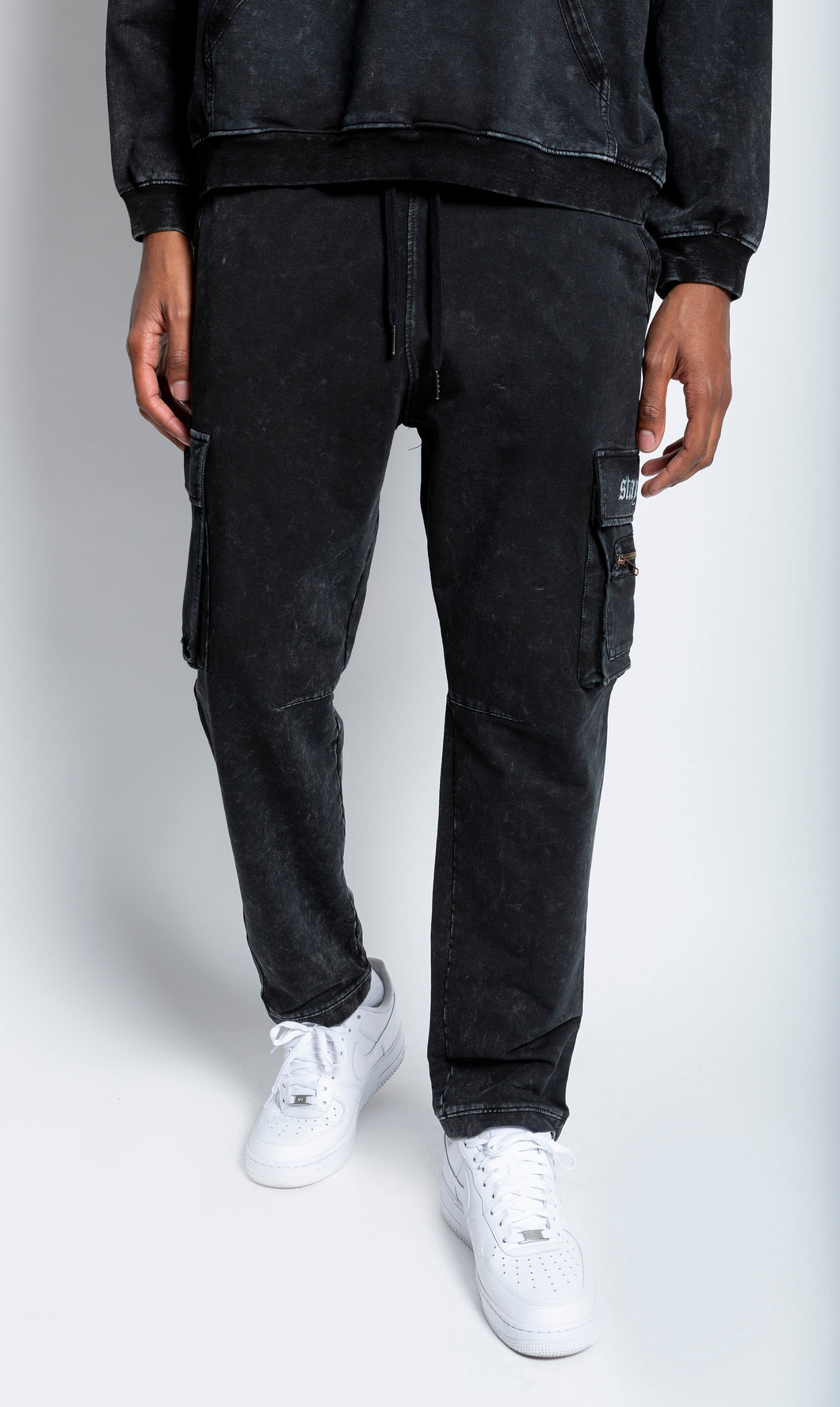 Black Mineral Wash Cargo Sweatpants