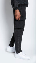 Load image into Gallery viewer, Black Mineral Wash Cargo Sweatpants