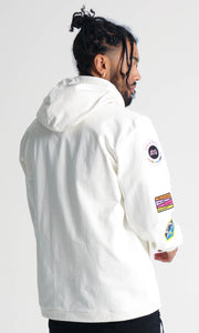 BTG x STAYDIUM Patch Zip-Up Hoodie in White