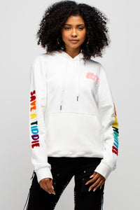 BTG Terry Embroidered Hoodie in White