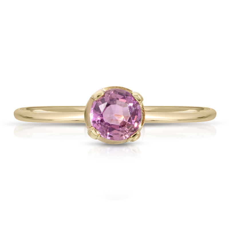 Pink Sapphire ring- 14k Band