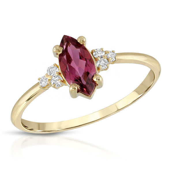Marquise pink tourmaline with diamonds - BLVD