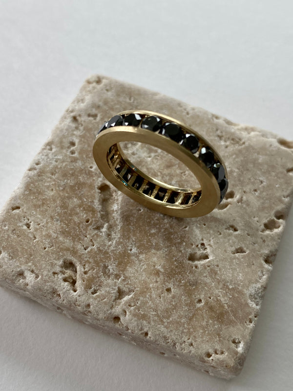 Black Diamonds Bold 14K Solid Gold Band