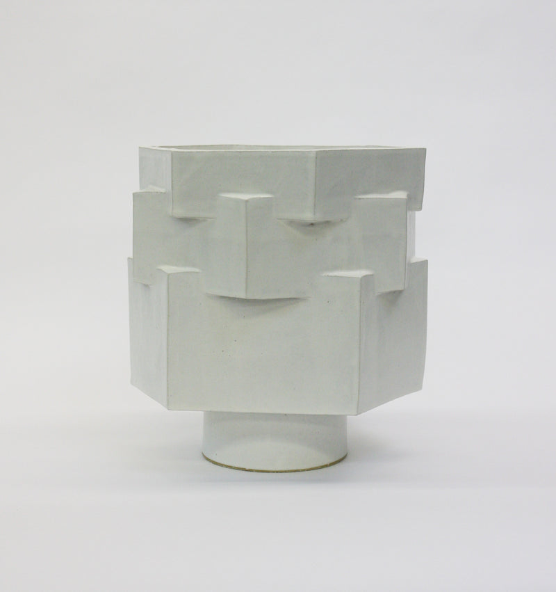 Plaxl Layered Hexagon Planter - Marshmallow