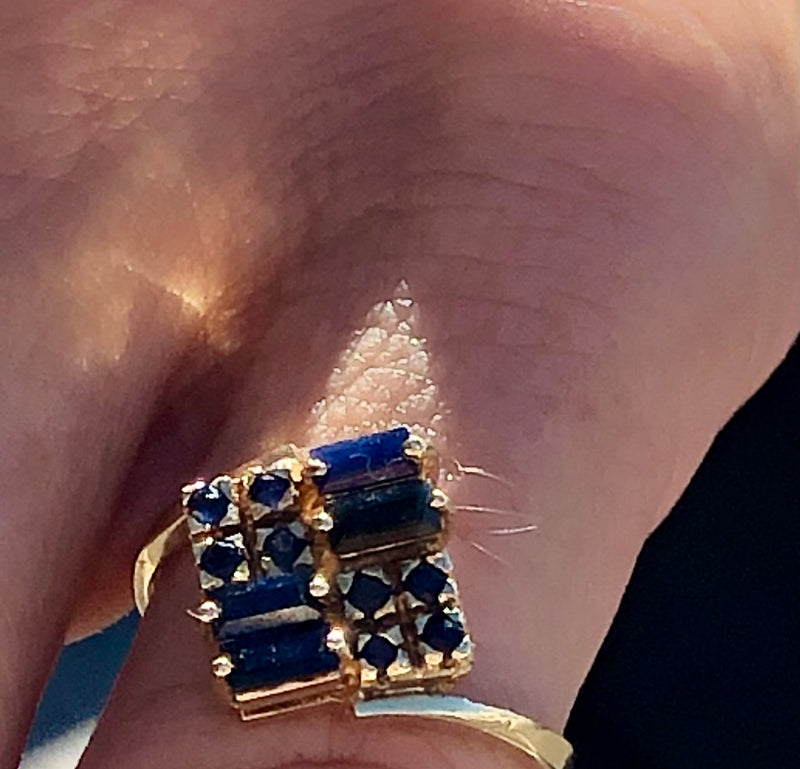 French Art Deco 36 Sapphire Set in 14k solid gold.