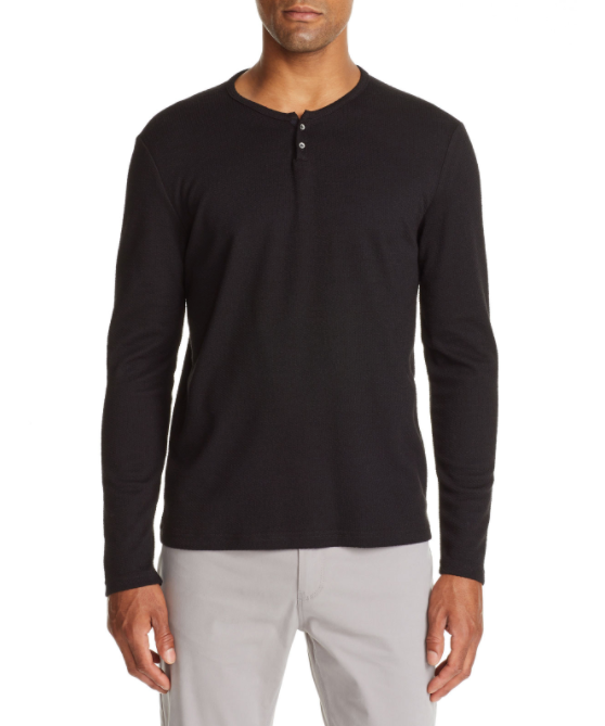 Lucerine Long Sleeve Henley - Black