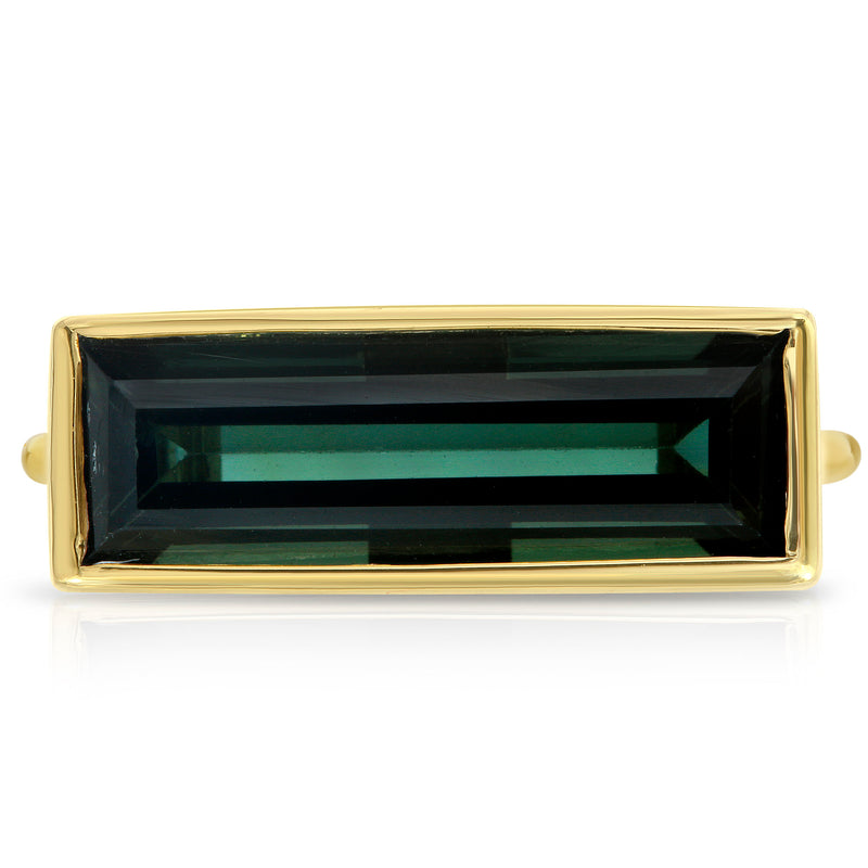 Dark Green Rectangle Tourmaline Ring - BLVD