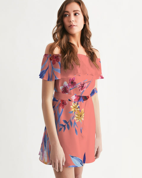 Exotic Floral Off-Shoulder Dress