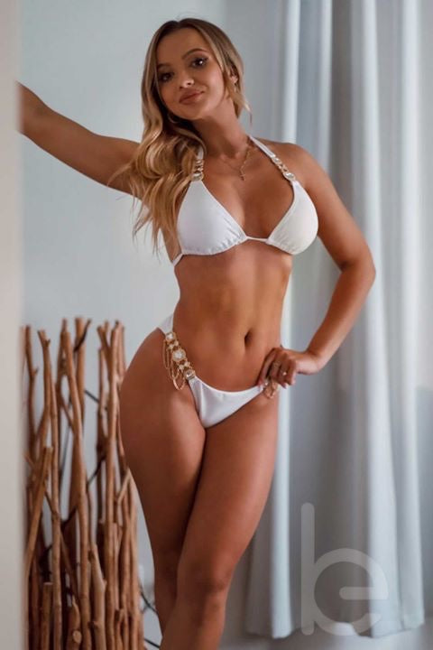 Yulia wearing white bikini with gems