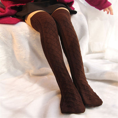 Winter Soft Warm Over Knee Sexy Women's Cable Knit Socks