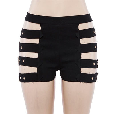 Black Cut Out Side Buckle High Waisted Slim Shorts -  - buy epic deals