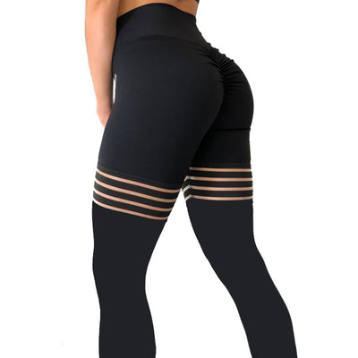 Black Ruched Clear Elastic Thick Leggings