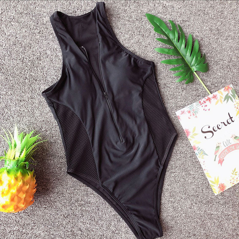 Solid Tone and Mesh One Piece Zippered Monokini Swimsuit in black