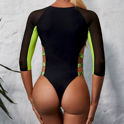 Sexy Neon Green One Piece Swimsuit with Long Sleeves and Mesh