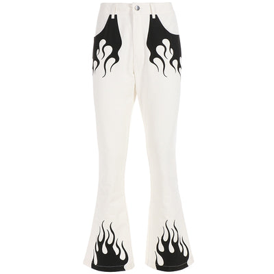 White Flared Flame Print High Waisted Pants by Darlingaga -  - buy epic deals