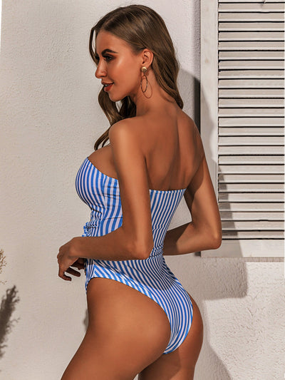 Sexy Navy Stripes Strapless Front Tied Swimsuit