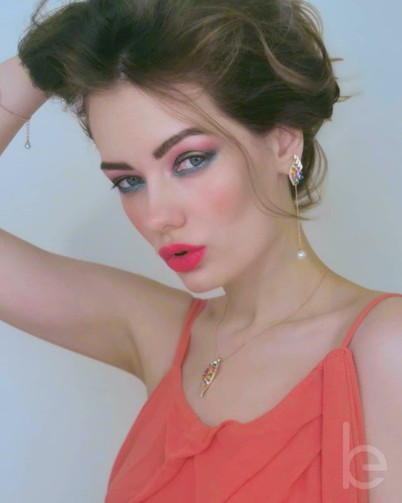 The beautiful Anna Stroilova wearing the Phoenix Feather Jewelry Set