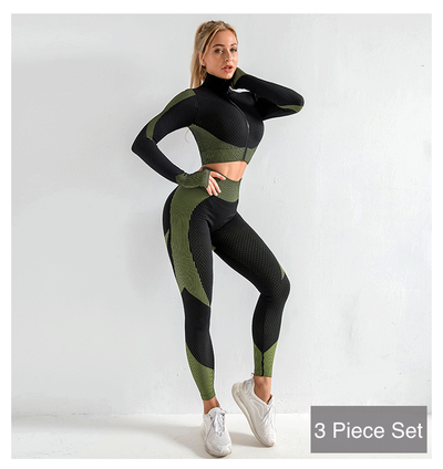Women's 3 Piece Workout Outfit - Seamless High Waisted Leggings, Long Sleeve Crop Top Yoga Activewear Set - Leggings - buy epic deals