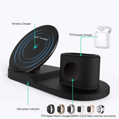 Wireless 3 in 1 Charger Stand for iPhone AirPods Apple Watch, Charge Dock Station Charger for Apple Watch Series 4/3/2/1 iPhone X and 8 - Accessories - buy epic deals