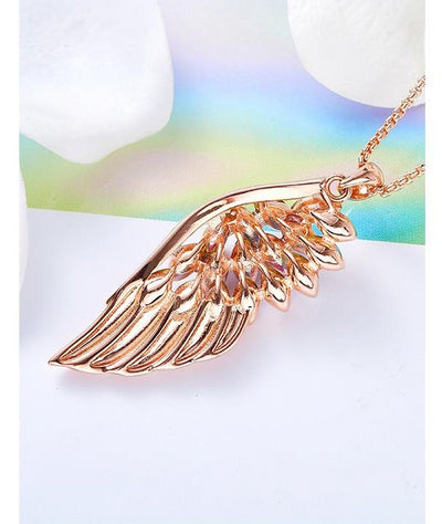 Rose Gold Feather Necklace Embellished with crystals Angel Wings Pendant - Gift Ideas - buy epic deals