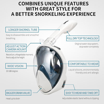 Snorkelling Diving Mask Full Face Anti Fog Underwater Snorkel Mask Set Swimming Mask with mount for Go Pro Style Cameras - Fitness - buy epic deals