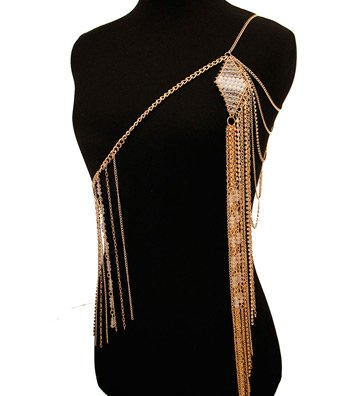 Gold Clear and White Bead One Shoulder Body Chain