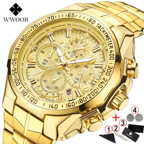 Relógio Masculino Wrist Watches Men's 2020 Top Luxury WWOOR, Ouro Masculino