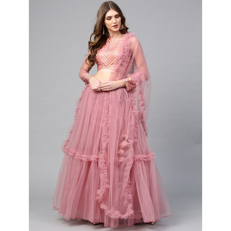 Pink Color Solid Semi-Stitched Lehenga & Unstitched Blouse with Dupatta