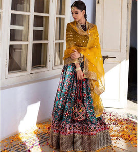 BEAUTEOUS MULTI COLOR PATOLA IN DIGITAL PRINT WITH EMBROIDRY WORK LAHENGA CHOLI WITH DUPATTA