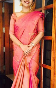 Charming Pink Color Soft Silk Designer Saree FN216