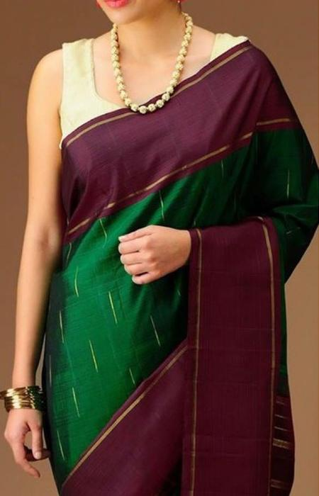 Fantastic Green Color Soft Silk Designer Saree FN02