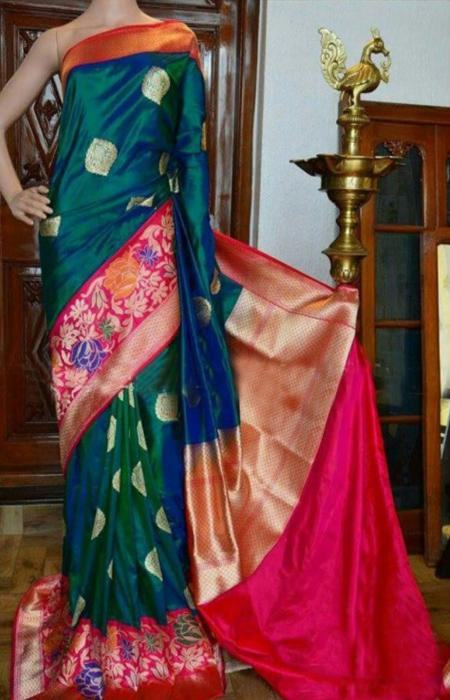 Beauteous Green And Pink Color Soft Silk Designer Sarees - FN941