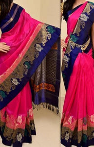 Pink n Blue and Pink Color Eye Catching Beautyful Soft Silk Saree FN780