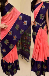 Attractive Pink N navy Blue Color Soft Silk Saree FN768
