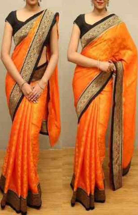 Adorning Orange Color Designer Soft Silk Saree SC3018