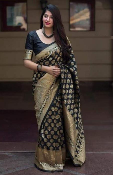 Ideal Black and Gold Color Designer Soft Silk Saree SC7010