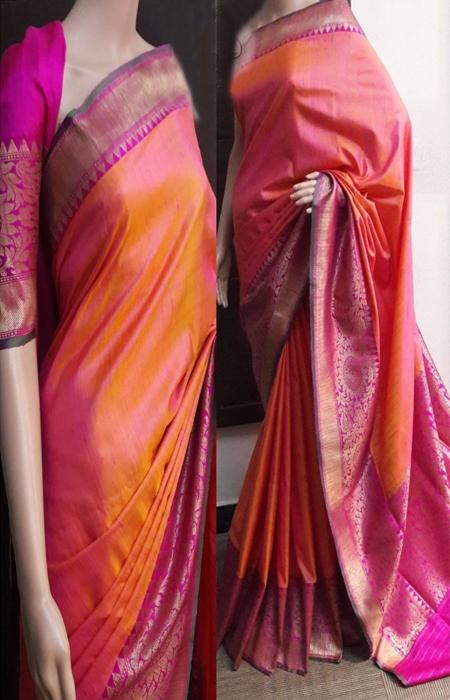 Delightful Orange N Pink Color Soft Silk Saree FN753