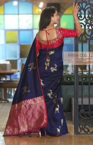 Eye Catching Blue Color Designer zarna silk saree FN2643