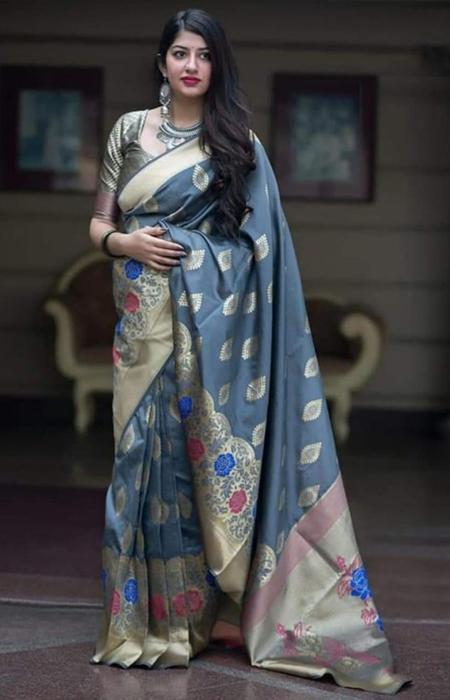 Glammrous Grey and Peach Color Designer Soft Silk Saree SC7008