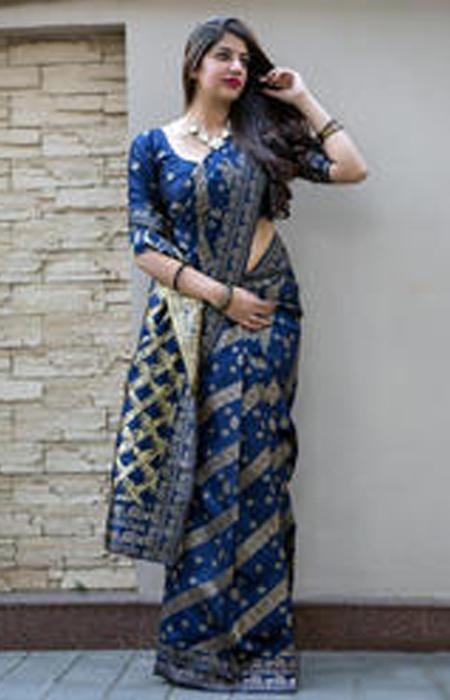 Magnetic Blue Color Soft Silk Designer Sarees SC7013