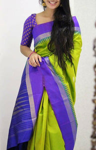 Dapper Green And Purple Color Soft Silk Designer Sarees FN1050