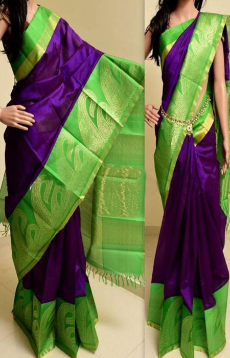 Charming Purple N Green Color Soft Silk Saree FN770