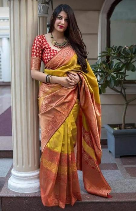 Jazzy Red and Yellow Color Designer Soft Silk Saree SC7011