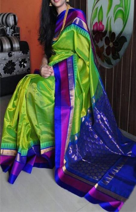 Green n Blue Color Combination Soft Silk Designer Sarees FN711